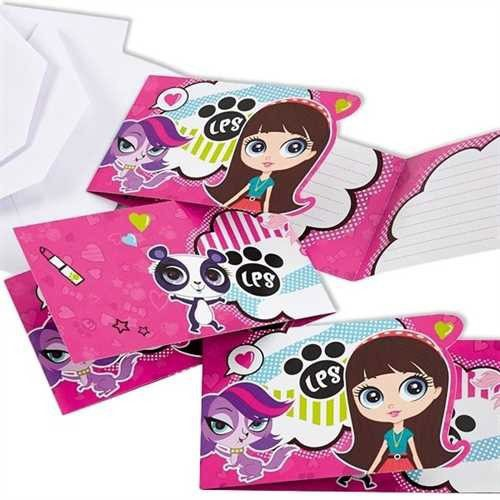 SAC.6 CARTES INVITATION LITTLEST PETSHOP
