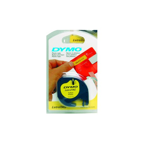 RUBAN DYMO 12MM LETRATAG PVC NOIR-JAUNE