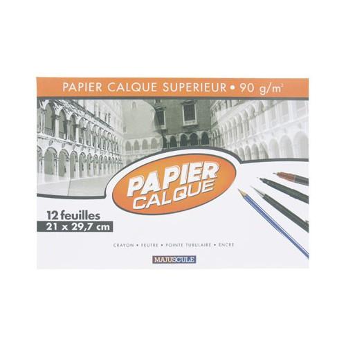 POCH 12F PAPIER CALQUE A4 MAJUSCULE 90G