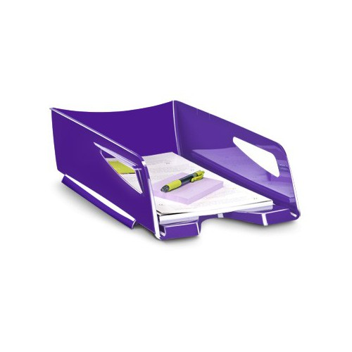 CORBEILLE COURRIER H115MM GLOSS VIOLET