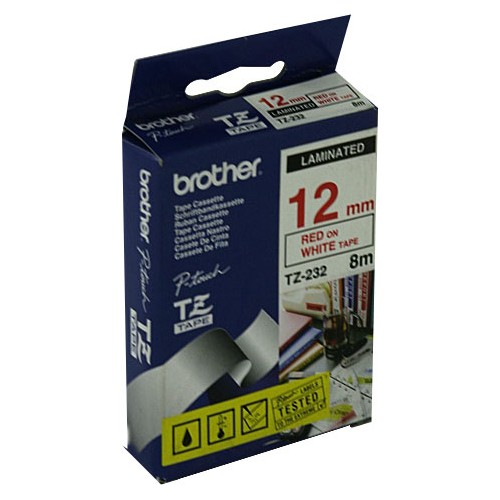 Ruban Brother 12Mm Ptouch Rouge-Blanc