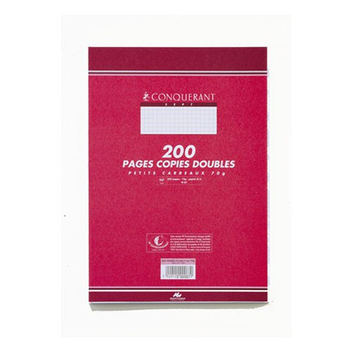PAQUET 200 COPIES DOUBLES A4 Q5X5 BLANC