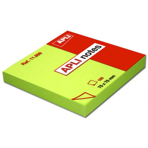 BLOC 100 POST IT NOTES 75X75MM VERT VIF