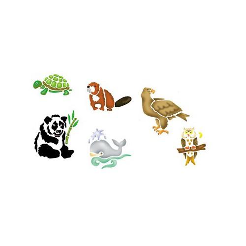 LOT 6 POCHOIRS LAVABLES ANIMAUX PROTEGES