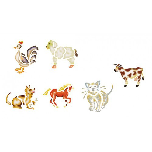 LOT 6 POCHOIRS LAVABLES ANIMAUX FERME