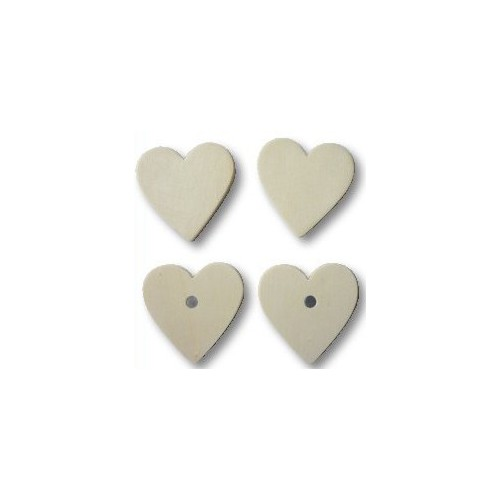 LOT 4 MAGNETS 50MM COEUR BOIS A DECORER