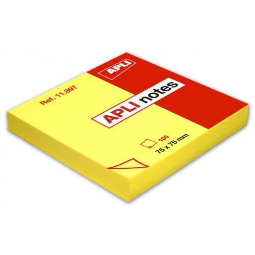 BLOC 100 POST IT NOTES 75X75MM JAUNE VIF