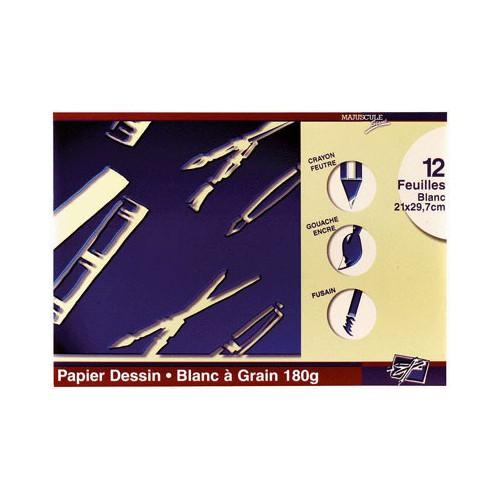 POCH 12F DESSIN A4 180G BLANC
