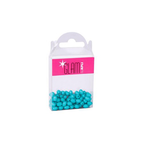 BOITE PERLES OPAQUES 7X5MM TURQUOISE