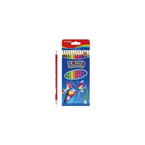 ETUI 12 CRAYONS COULEUR BOUT GOMME