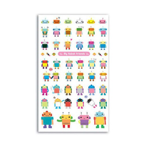 STICKERS FUNNY ROBOT & SES AMIS