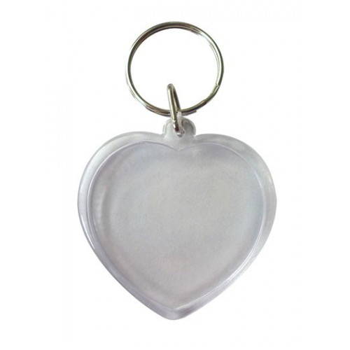 LOT 6 PORTE CLES 45MM COEUR TRANSPARENT