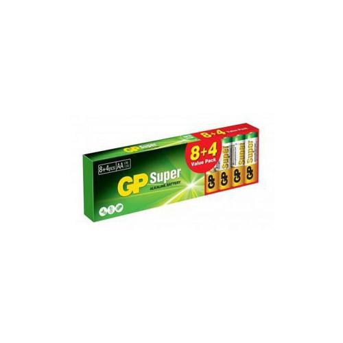 PACK 12 PILES ALCALINE GP SUPER AA LR6