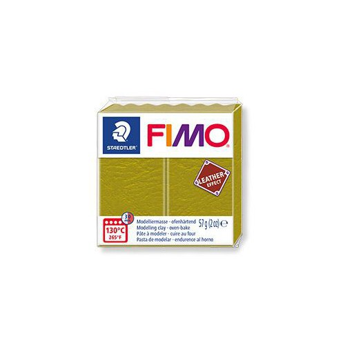 PATE FIMO EFFET CUIR 57G OLIVE