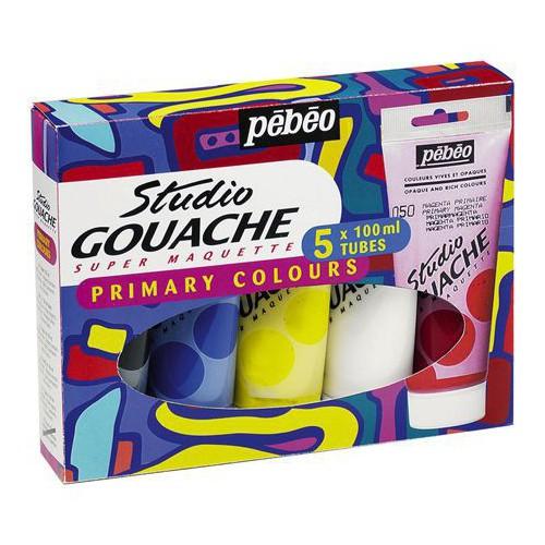PACK 5X100ML GOUACHE STUDIO PRIMAIRE