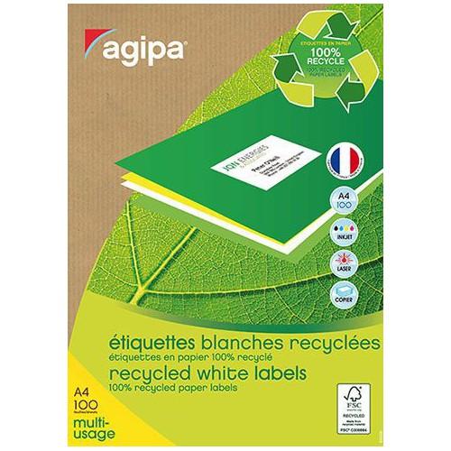 ETIQUETTE A4 X 100 BLANC RECYCLE COINS