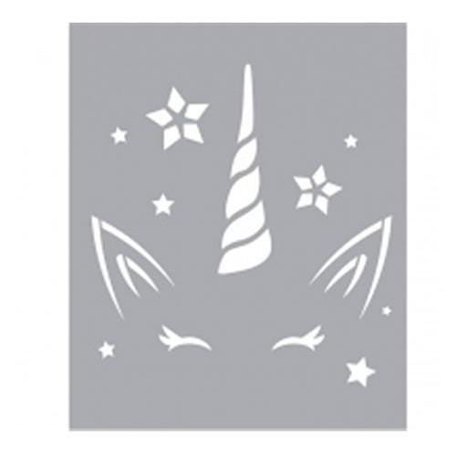 POCHOIR DECOR 8X8CM LICORNE